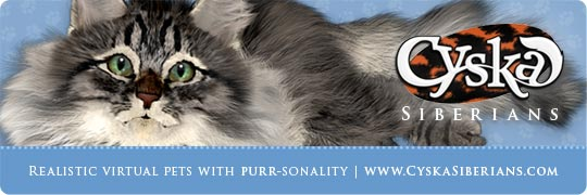 Cyska Banner - Realistic virtual pets with purr-sonality